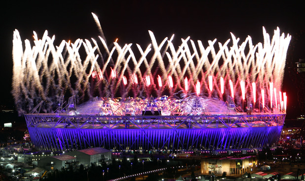 The main Opening Ceremony firework display as the queen declares the games open