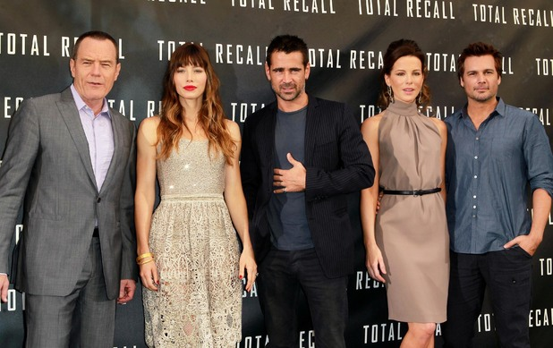 Bryan Cranston, Jessica Biel, Colin Farrell, Kate Beckinsale and Len Weisman at the 'Total Recall' film photocall.