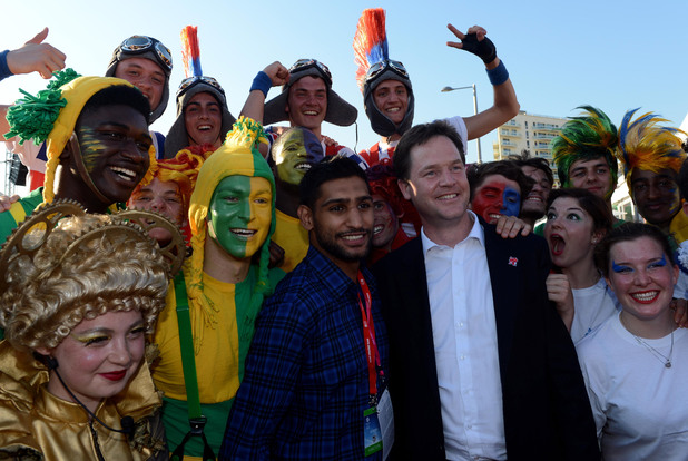 Nick Clegg and Amir Khan