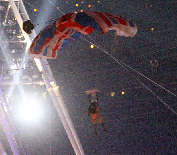 A parachutist pretending to be the Queen at the Olympic Stadium during the Olympic Games 2012 Opening Ceremony at the Olympic Stadium, London.