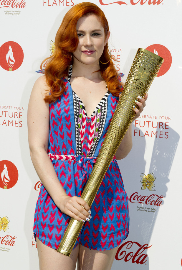 Katy B backstage at Olympic torch relay concert