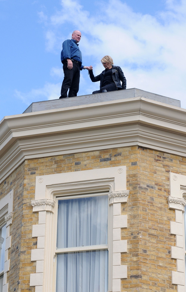 Shirley Carter and Phil Mitchell on the Queen Vic's roof