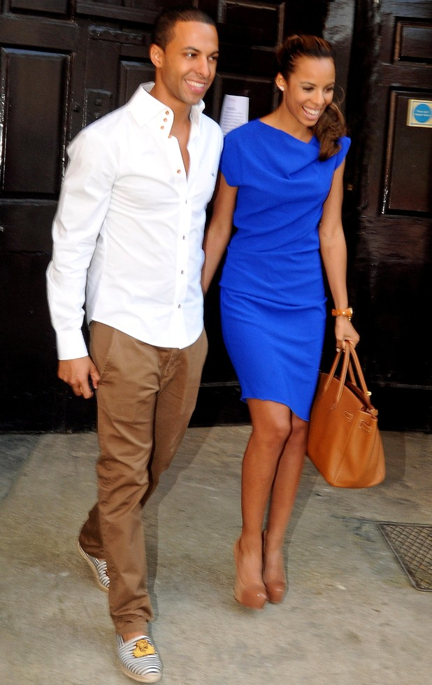Newlyweds Rochelle Wiseman and Marvin Humes leave the Feathers Hotel, Woodstock, the morning after their wedding.