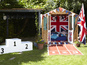 Patriotic shed complete with podium is the perfect place to stay for the Games.