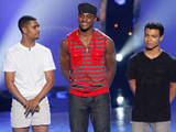 So You Think You Can Dance Season 9 - second live show: Eliminated contestant Brandon Mitchell (C) and saved contestants George Lawrence II and Dareian Kujawa