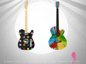Artist Hirst has created two guitars for the 10th anniversary of Joe Strummer's death.