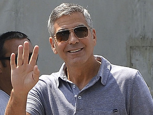 George Clooney on a film set for a new television commercial for Mercedes Sarnico, Italy