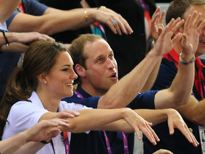 London 2012 Olympics: Duchess of Cambridge, Prince William and David Cameron join in with a Mexican wave at the Velodrome