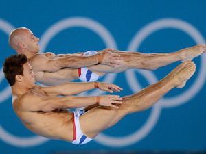Tom Daley and Peter Waterfield compete during the Men's Synchronised 10m Platform final