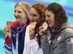 Rebecca Adlington GBR wins bronze, Camille Muffat FRA wins Gold, Allison Schmitt USA wins silver in the 400m Freestyle
