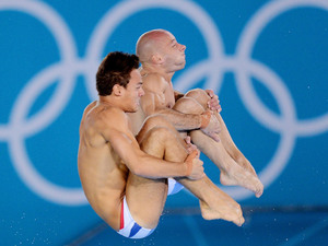 Tom Daley and Peter Waterfield practice before the Men's Synchronised 10m Platform Final during day three of the 2012 Olympic Games