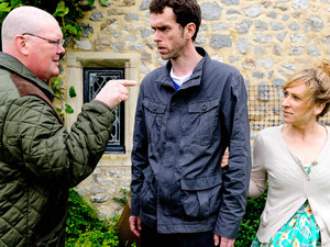 Emmerdale 6216: Paddy is furious, refusing to let Marlon mess up their lives while Rhona thinks they should get confirmation first that Marlon and Laurel really are together. Rhona urges Paddy to follow Marlon outside and Paddy is suspicious when he sees an exchange between Marlon and Laurel. In the pub kitchen, Paddy is angry as he questions Marlon about Laurel, wondering why he couldn't tell him. Marlon avoids the questions but panics when Paddy makes to leave. Marlon asks Paddy to keep the relationship quiet and they argue, both fuming about the situation. Later, Laurel and Marlon are left worried when Paddy visits and asks Marlon what is more important, them taking Leo away or keeping their affair a secret?