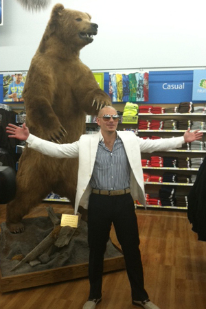 Pitbull poses for a photograph at Walmart in Kodiak, Alaska