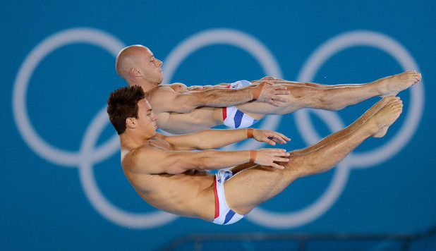 Tom Daley and Peter Waterfield compete during the Men&#39;s Synchronised 10m Platform final