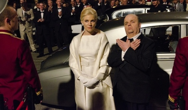 Sienna Miller and Toby Jones as Hedren and Hitchcock in HBO's The Girl