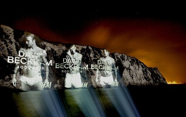David Beckham's H&M campaign project onto the White Cliffs of Dover
