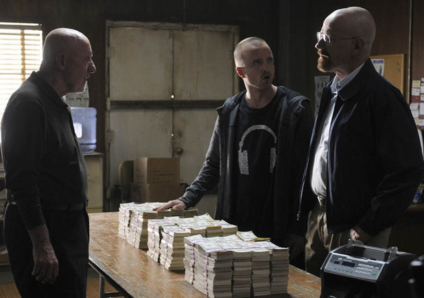 Jonathan Banks, Aaron Paul and Bryan Cranston in Breaking Bad, Season 5, Episode 3