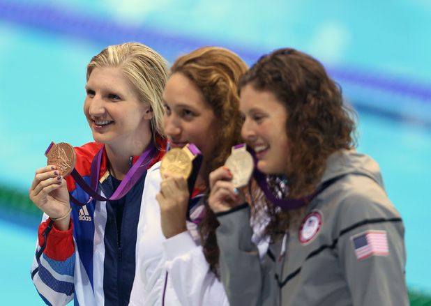 Rebecca Adlington (GBR) wins bronze, Camille Muffat (FRA) wins gold, Allison Schmitt (USA) wins silver in the women's 400m freestyle