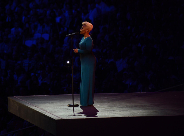Emeli Sande performs 'Abide with Me'.