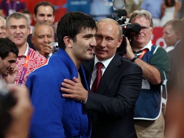 Vladimir Putin with Russian judo gold medallist Tagir Khaibulaev