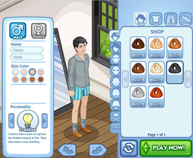 Screenshot of the Sims Social game