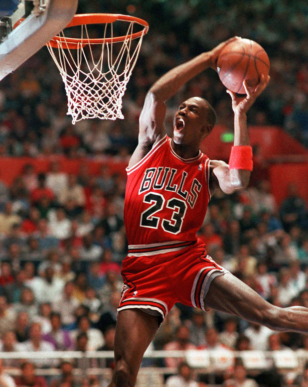 Chicago Bulls' Michael Jordan takes part in the NBA All-Star Slam Dunk contest in Seattle in this Feb. 7, 1987 photo.