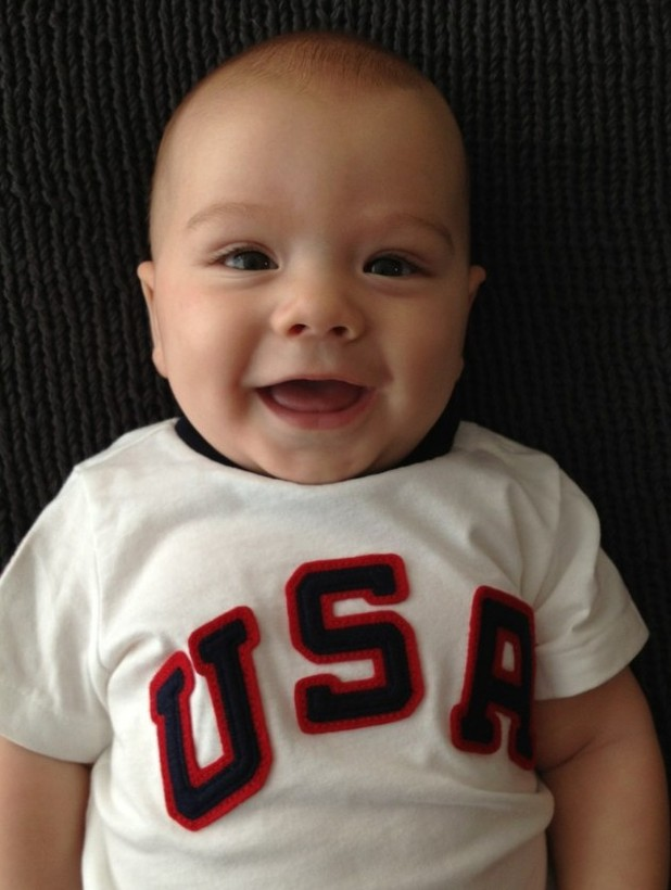 Jared Padalecki posts a photograph of his son Thomas Colton in an Olympics outfit