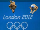 Tom Daly, Peter Waterfield compete in the Men's Synchronised 10m Platform competition at the Aquatics Centre in the Olympics Park during the third day of the London 2012 Olympics.
