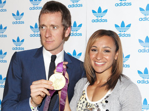 Bradley Wiggins and Jessica Ennis at adidas Underground for suprise one off performance by the legendary stone roses