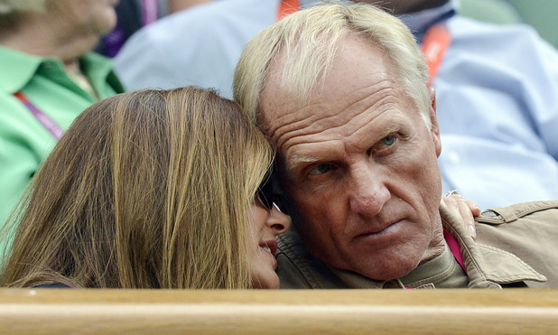 Australian golfer Greg Norman and his wife Kirsten in the Royal Box, watching Great Britain's Andy Murray winning his First Round match in the Men's Singles at the Olympic Tennis Venue, Wimbledon.