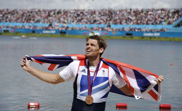 Alan Campbell celebrates his bronze medal in the men's single sculls, London 2012 Olympics