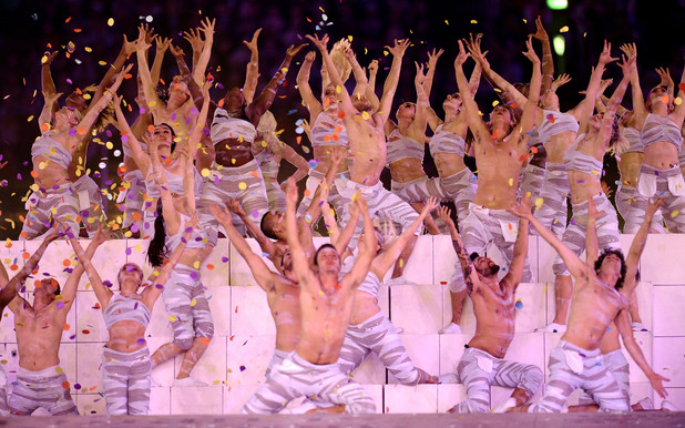 London 2012 Olympics Closing Ceremony: Performers during the athlete parade.