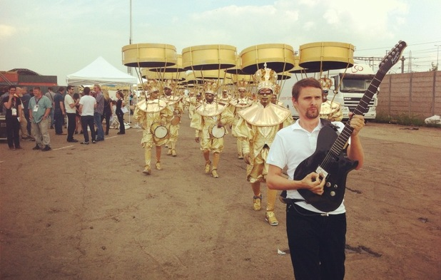 Muse rehearsing for London 2012 closing ceremony.