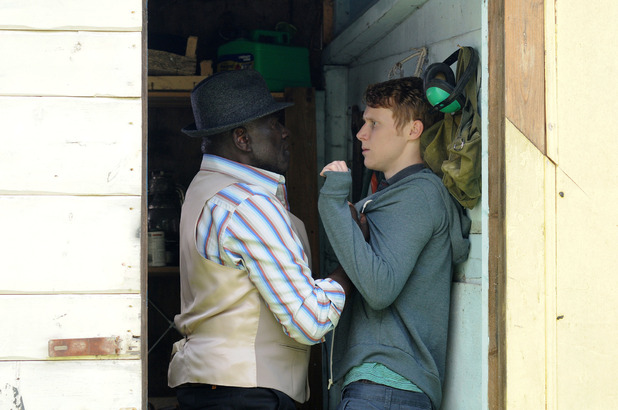 Patrick Trueman confronts Jay Mitchell in EastEnders