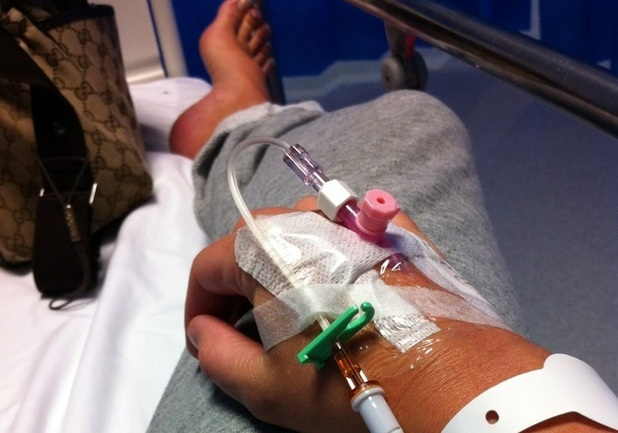 Michelle Heaton in hospital