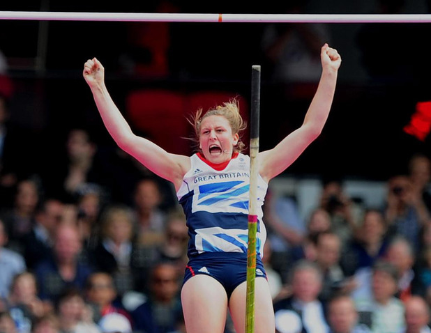 Holly Bleasdale in the Women's Pole Vault during day eight of the London Olympic Games