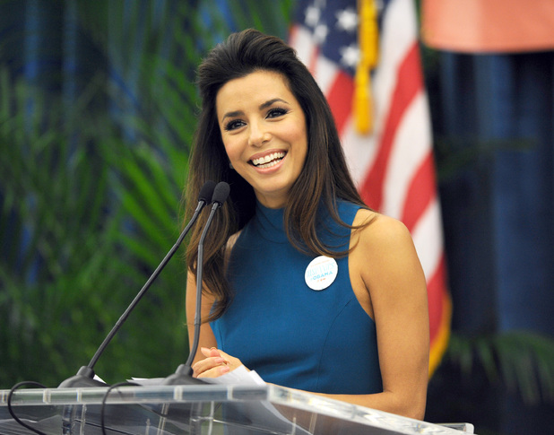 Eva Longoria speaks at an Obama For America Women's Summit event at Miami Dade College . Miami , Florida