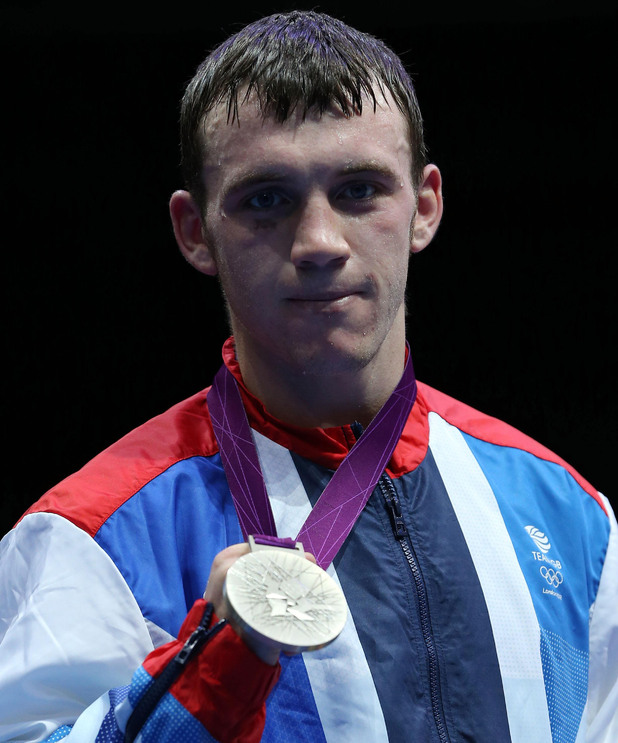 Freddie Evans with his silver medal during the Men's Welter weight Final.