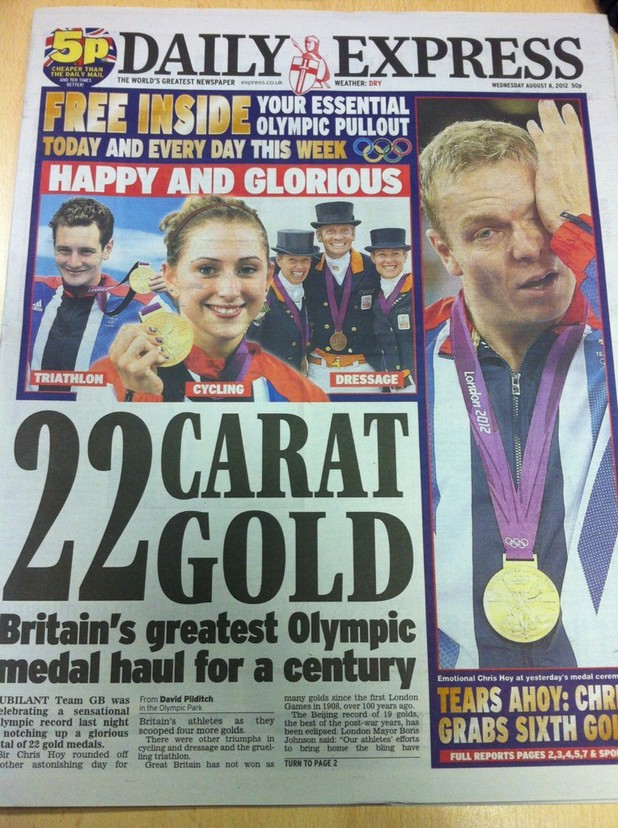 Daily Express front cover error shows Dutch dressage team instead of Team GB