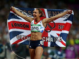 Jessica Ennis celebrates winning gold in heptathlon London 2012