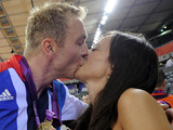 Sir Chris Hoy, Sarra after he won the Team Sprint Final during day six of the Olympic Games at the Velodrome, London.