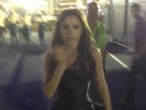 Victoria Beckham looking &quot;overwhelmed&quot; after coming off stage from Olympic closing ceremony