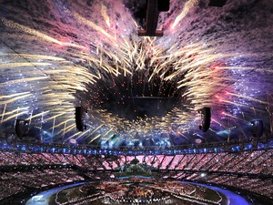 Fireworks mark the opening of the London Olympic Games 2012 Opening Ceremony at the Olympic Stadium, London.