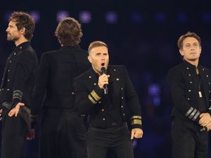 Take That at the 2012 London Olympic Games, Closing Ceremony, Britain - 12 Aug 2012.