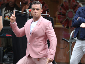 Robbie Williams filming his new music video