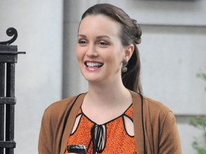 Leighton Meester on the set of 'Gossip Girl' in New York.