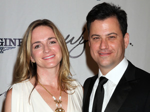 Jimmy Kimmel, Molly McNearney arriving at the 2011 Andre Agassi Grand Slam For Children at Wynn Hotel and Casino in Las Vegas