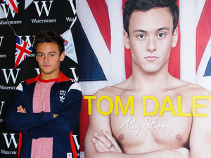 Olympic medalist, Tom Daley signs copies of his autobiography 'My Story' at Bluewater shopping center. London