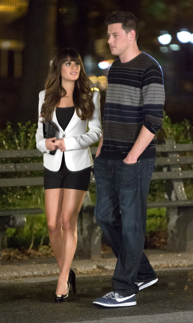Lea Michele and Cory Monteithon the set of