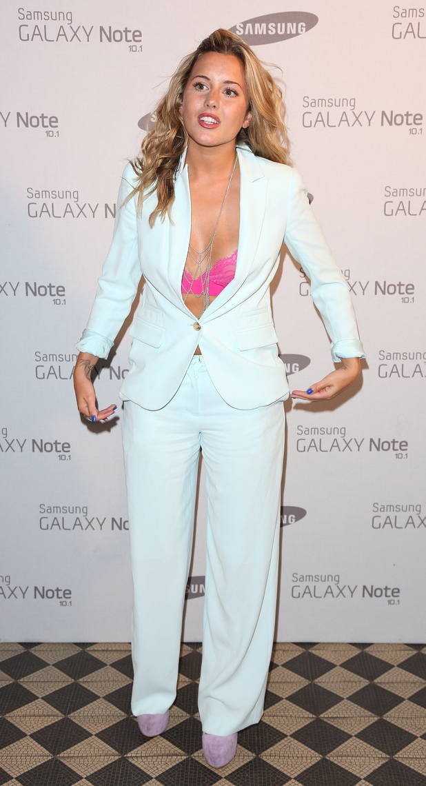 Caggie Dunlop Samsung celebrate the launch of the Galaxy Note 10.1 held